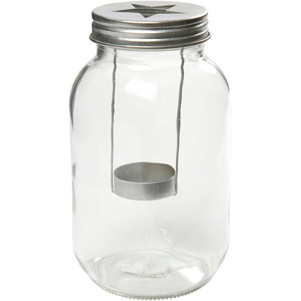 Pot lanterne en verre - Étoile - 10 x 18 cm - Photo n°1