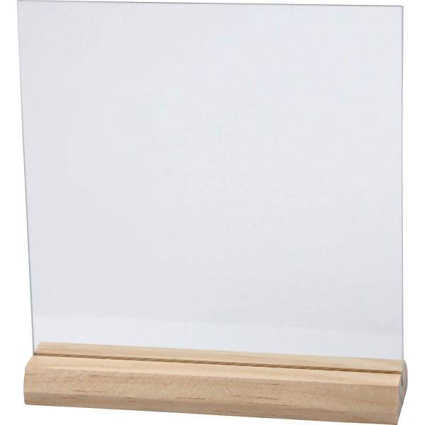 Plaques De Verre Avec Socle En Bois - 15,5 x 15,5 cm - 10 pcs - Photo n°1