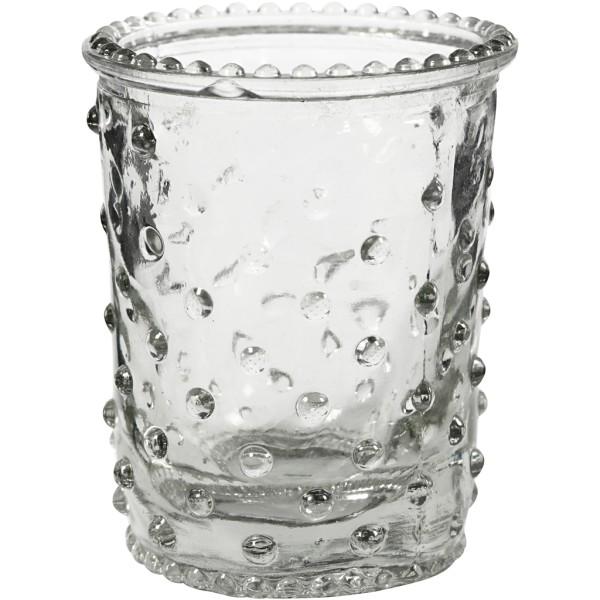 Bougeoirs en verre pour bougies chauffe-plat - 6,4 x 7,8 cm - 6 pcs - Photo n°1
