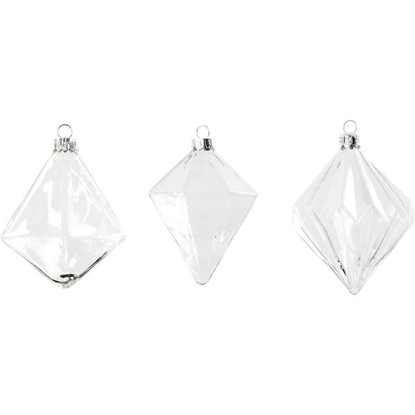 Boules de Noël en verre - 7 à 8 cm - 3 pcs - Photo n°1