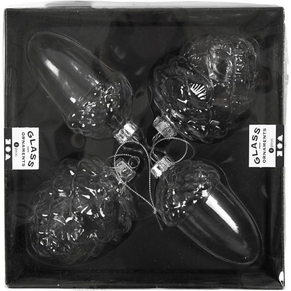 Boules de Noël en verre - Pomme de pin - 5,5 et 7,5 cm - 4 pcs - Photo n°2