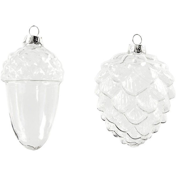 Boules de Noël en verre - Pomme de pin - 5,5 et 7,5 cm - 4 pcs - Photo n°1