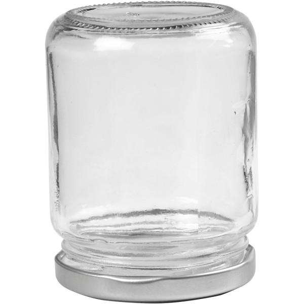 Pot en verre avec couvercle à vis argenté - 6,8 x 9,1 cm - 240 ml -12 pcs - Photo n°2