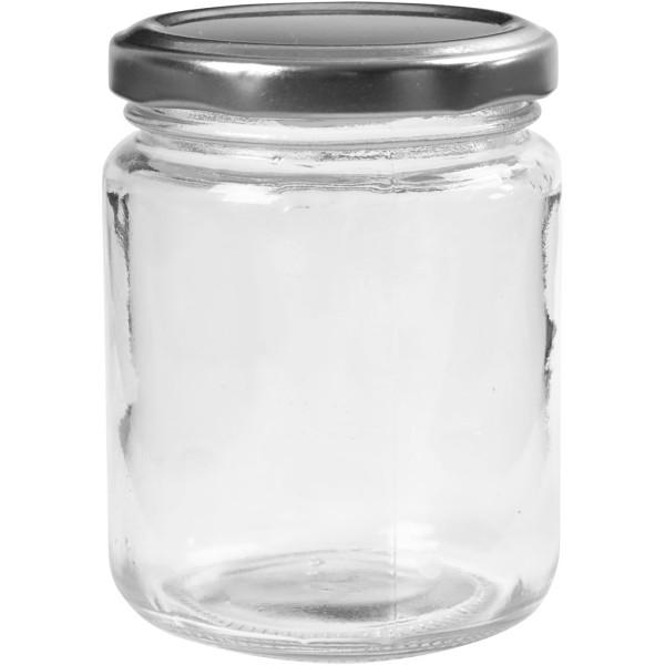 Pot en verre avec couvercle à vis argenté - 6,8 x 9,1 cm - 240 ml -12 pcs - Photo n°1