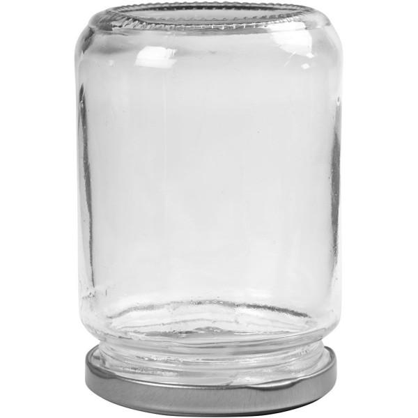 Lot de 6 Pots en verre avec couvercle à vis argenté - 7,5 x 11 cm - 370 ml - Photo n°2