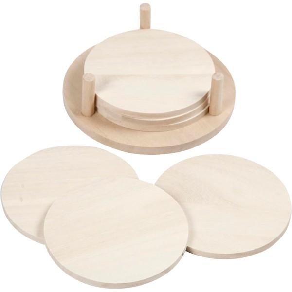 Dessous de verre en bois à décorer   Diamètre 9,5 cm   6 pcs - Photo n°1