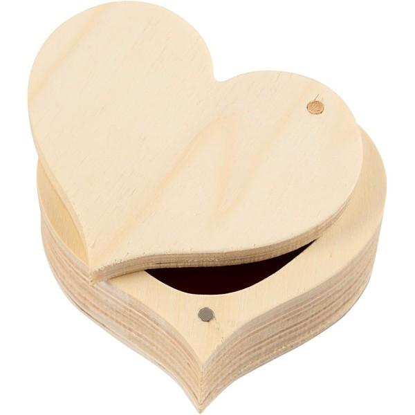 Boîte en bois coeur à décorer - 9 x 4 cm - 1 pce - Photo n°1