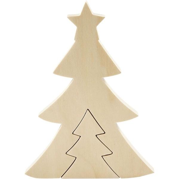 Forme en bois à décorer 2 en 1 - Sapin - 20 cm - Photo n°3
