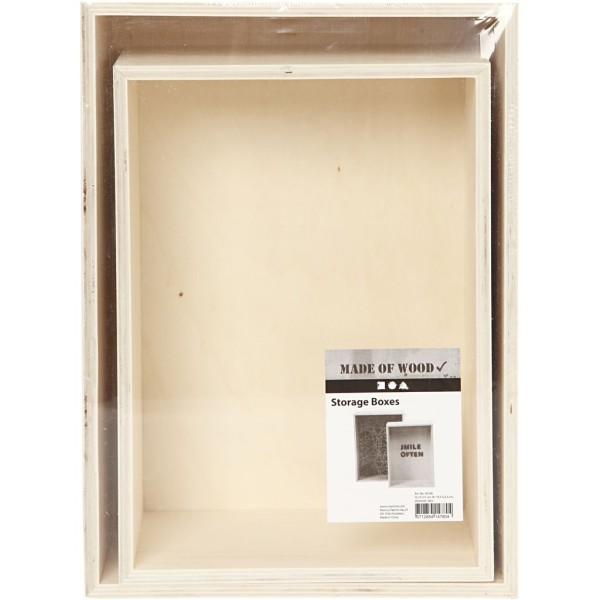 Lot d'étagères en bois à décorer - 27 x 19,5 cm et 31 x 22,5 cm - 2 pcs - Photo n°2