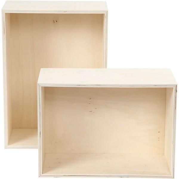 Lot d'étagères en bois à décorer - 27 x 19,5 cm et 31 x 22,5 cm - 2 pcs - Photo n°1