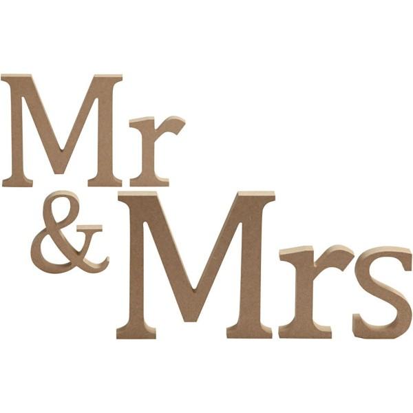 Lettres en bois - Mr & Mrs - 13 x 1,5 cm - Photo n°1