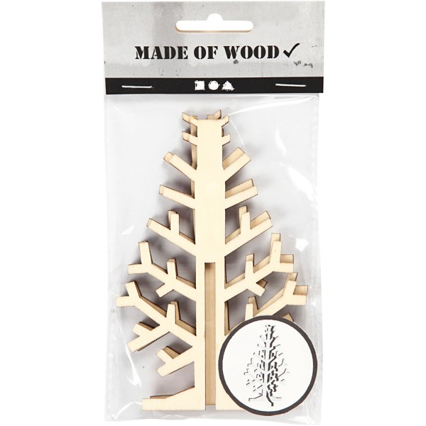 Sapin 3D en bois à monter et décorer - 12 cm - Photo n°2