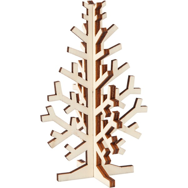 Sapin 3D en bois à monter et décorer - 12 cm - Photo n°1