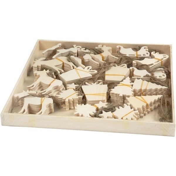 Assortiment de forme en bois à suspendre - Noël - 7 à 9 cm - 90 pcs - Photo n°2