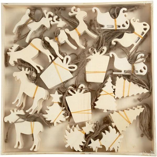 Assortiment de forme en bois à suspendre - Noël - 7 à 9 cm - 90 pcs - Photo n°3
