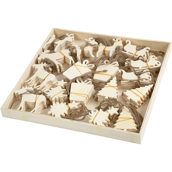 Assortiment de forme en bois à suspendre - Noël - 7 à 9 cm - 90 pcs - Photo n°1