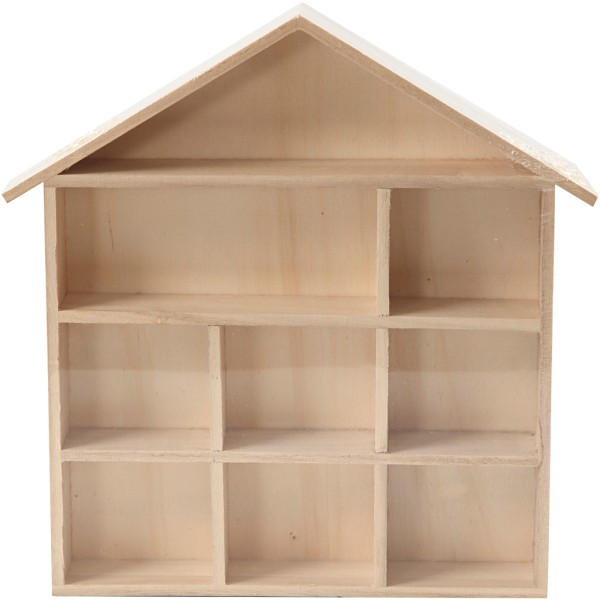 Etagère maison en bois à décorer - 26 x 25,2 x 3,5 cm - Photo n°2