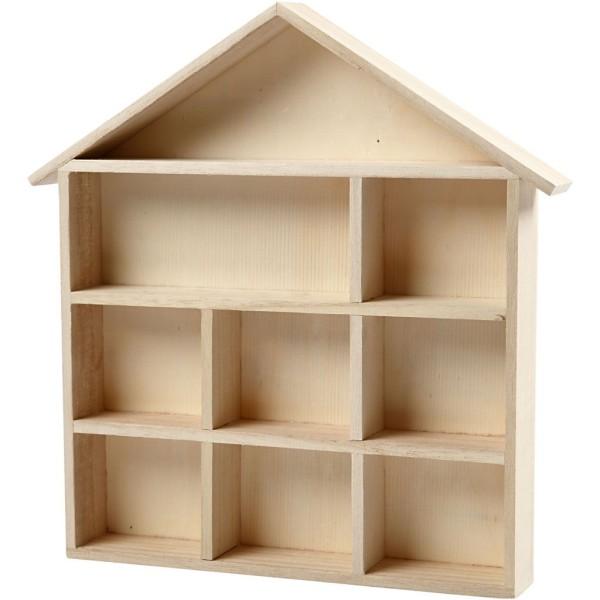 Etagère maison en bois à décorer - 26 x 25,2 x 3,5 cm - Photo n°1