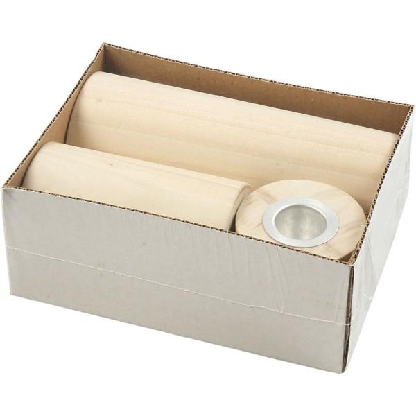 Lot de Bougeoirs ronds en bois à décorer - 6,5 à 14,5 cm - 3 pcs - Photo n°2
