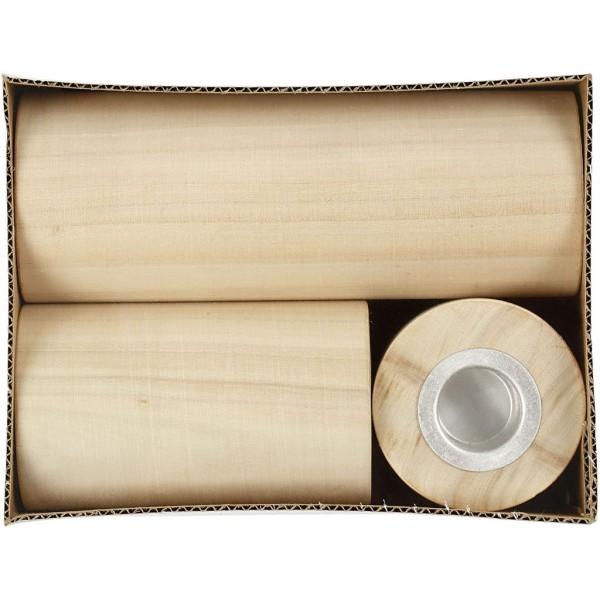 Lot de Bougeoirs ronds en bois à décorer - 6,5 à 14,5 cm - 3 pcs - Photo n°3