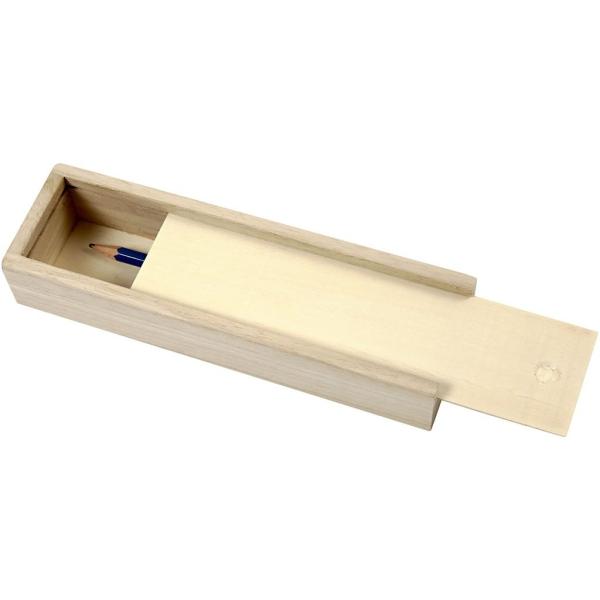 Boîte à crayons en bois à décorer - 20 x 6 x 3,5 cm - Photo n°2