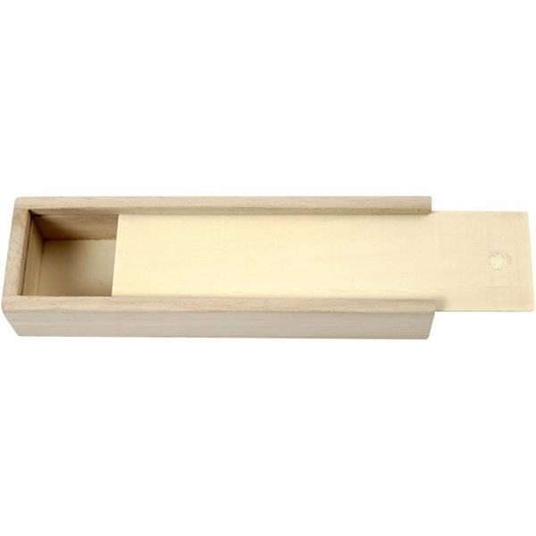 Boîte à crayons en bois à décorer - 20 x 6 x 3,5 cm - Photo n°1