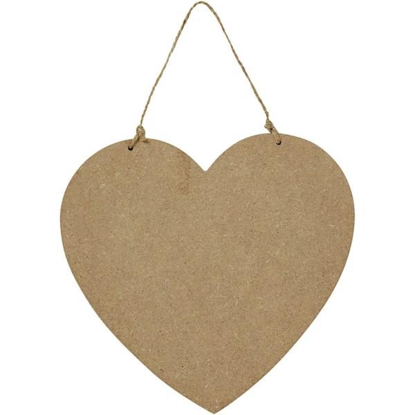 Panneau coeur en bois à décorer - 18,5 x 19,5 cm - Photo n°1