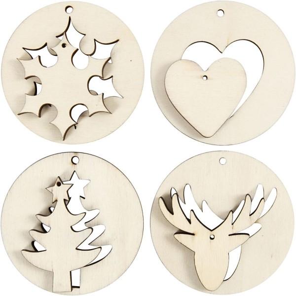 Décorations Noël 2-En-1 en bois à suspendre - 4 designs - 7 cm - 200 pcs - Photo n°3