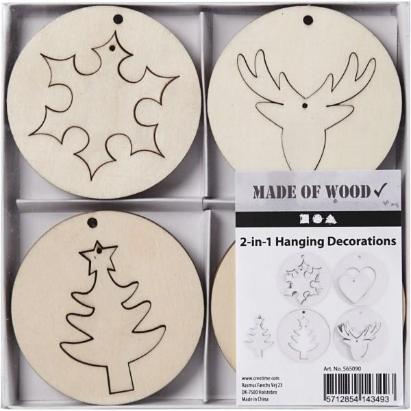 Set de suspensions de Noël en bois 2 en 1 - 7 cm - 8 pcs - Photo n°2