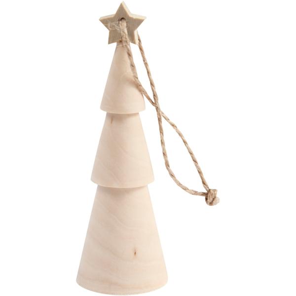 Suspension de Noël en bois - Sapin - 9 cm - Photo n°1