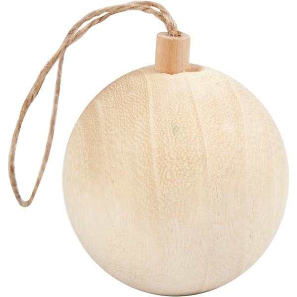 Boule de Noël en bois à décorer - 5,5 cm - Photo n°1
