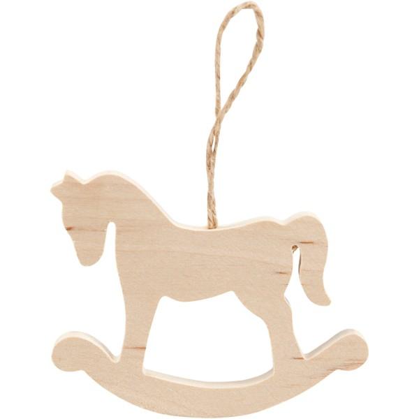 Suspension de Noël en bois - Cheval à bascule - 8 x 6 cm - Photo n°1