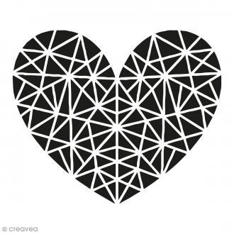 Kit tampon clear et bloc acrylique - Coeur géométrique - 4,5 x 4,5 cm