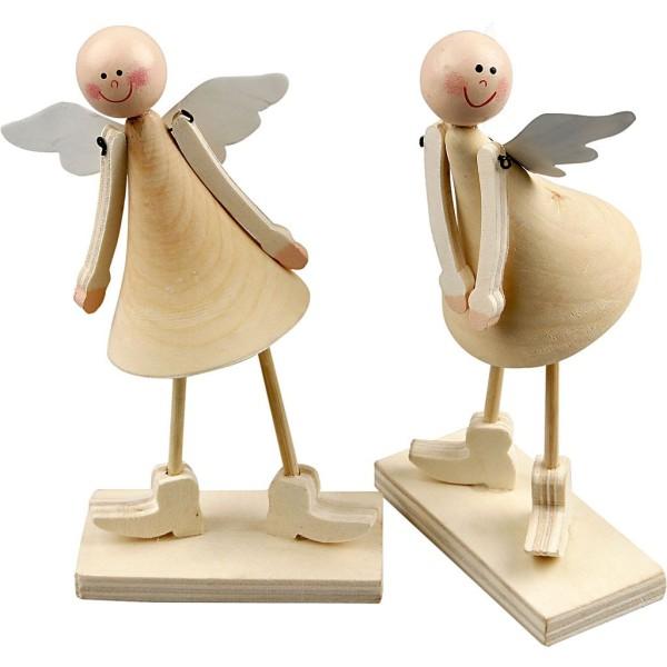 Figurines Anges en bois à décorer - 15 cm - 2 pcs - Photo n°1