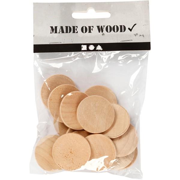Mini rondelle de bois - 30 x 5 mm - 15 pcs - Photo n°2