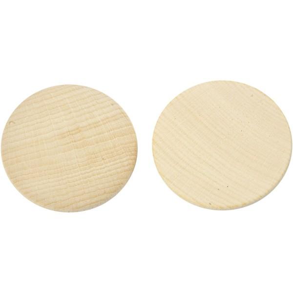 Mini rondelle de bois - 50 x 10 mm - 50 pcs - Photo n°1