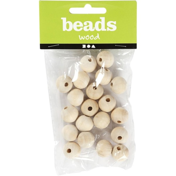 Perles en bois Lilas de Perse - 15 mm - 20 pcs - Photo n°1