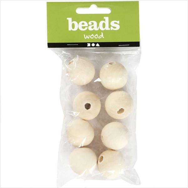 Perles en bois - 25 mm - 8 pcs - Photo n°1