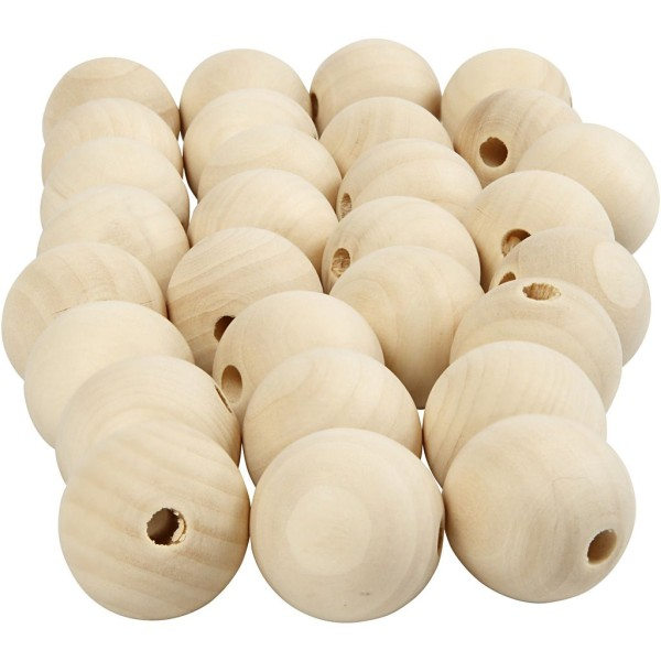 Perles en bois Lilas de Perse - 25 mm - 100 pcs - Photo n°1