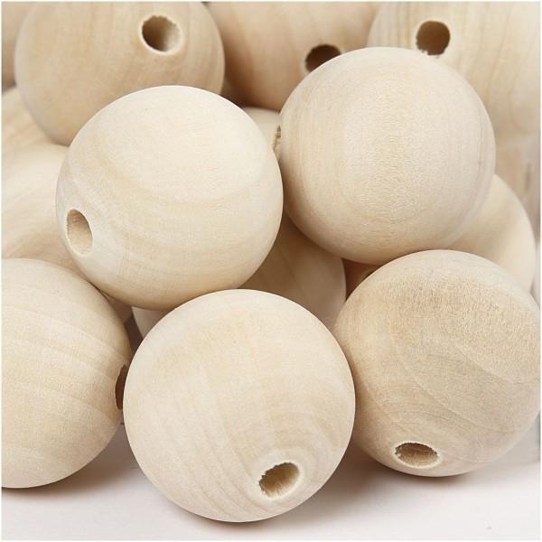 Perles en bois Lilas de Perse - 30 mm - 50 pcs - Photo n°1