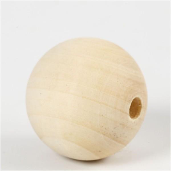 Perles En Bois - Diamètre : 40 mm - 6 pcs - Photo n°1