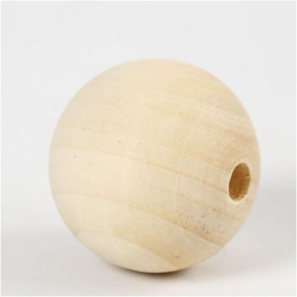 Perles En Bois - Diamètre : 40 mm - 30 pcs - Photo n°2