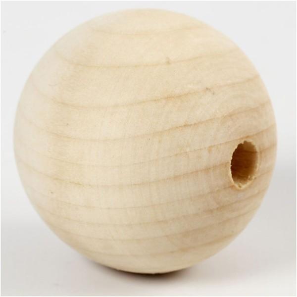Perles En Bois - Diamètre : 5 cm - 4 pcs - Photo n°1