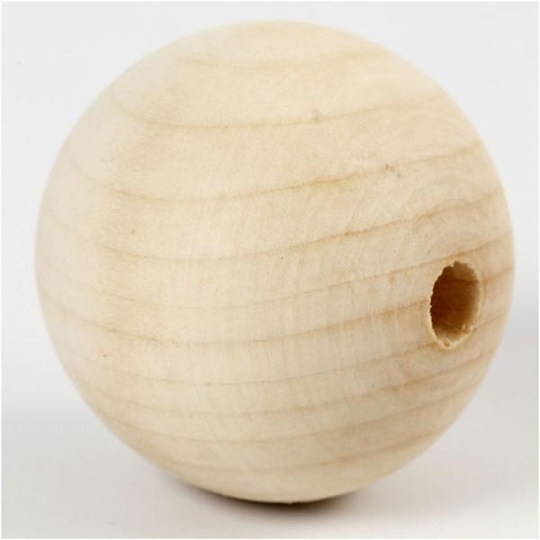 Perles En Bois - Diamètre : 5 cm - 20 pcs - Photo n°2