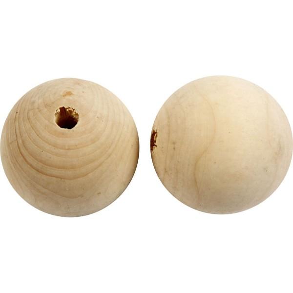 Perles En Bois - Diamètre : 5 cm - 20 pcs - Photo n°1