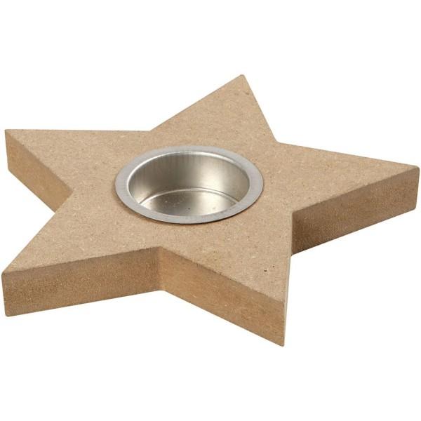 Bougeoir étoile en Mdf à décorer   15 cm - Photo n°1