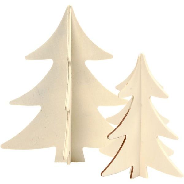 Sapin 3D en bois à monter et décorer - 13 et 18 cm - 2 pcs - Photo n°3