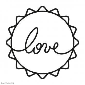 Kit tampon clear et bloc acrylique - Love rond - 4,5 x 4,5 cm