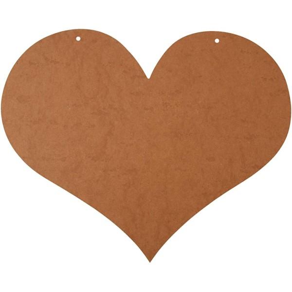 Coeur géant en bois à décorer avec trous - 50 x 40 cm - Photo n°1