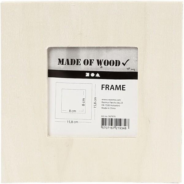 Cadre photo en bois à décorer - 15,8 x 15,8 cm - Photo n°1